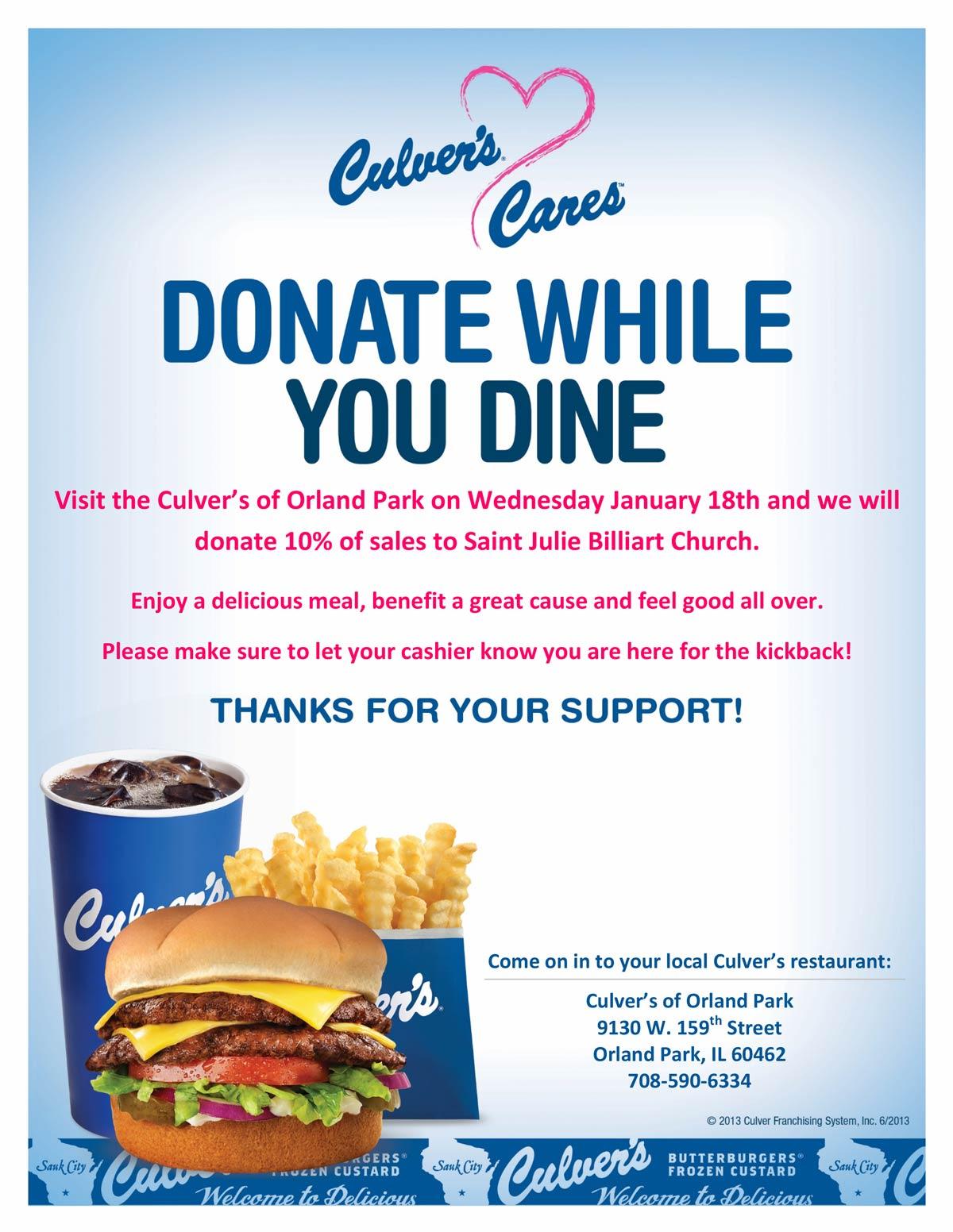 Culvers Restaurant Fundraiser