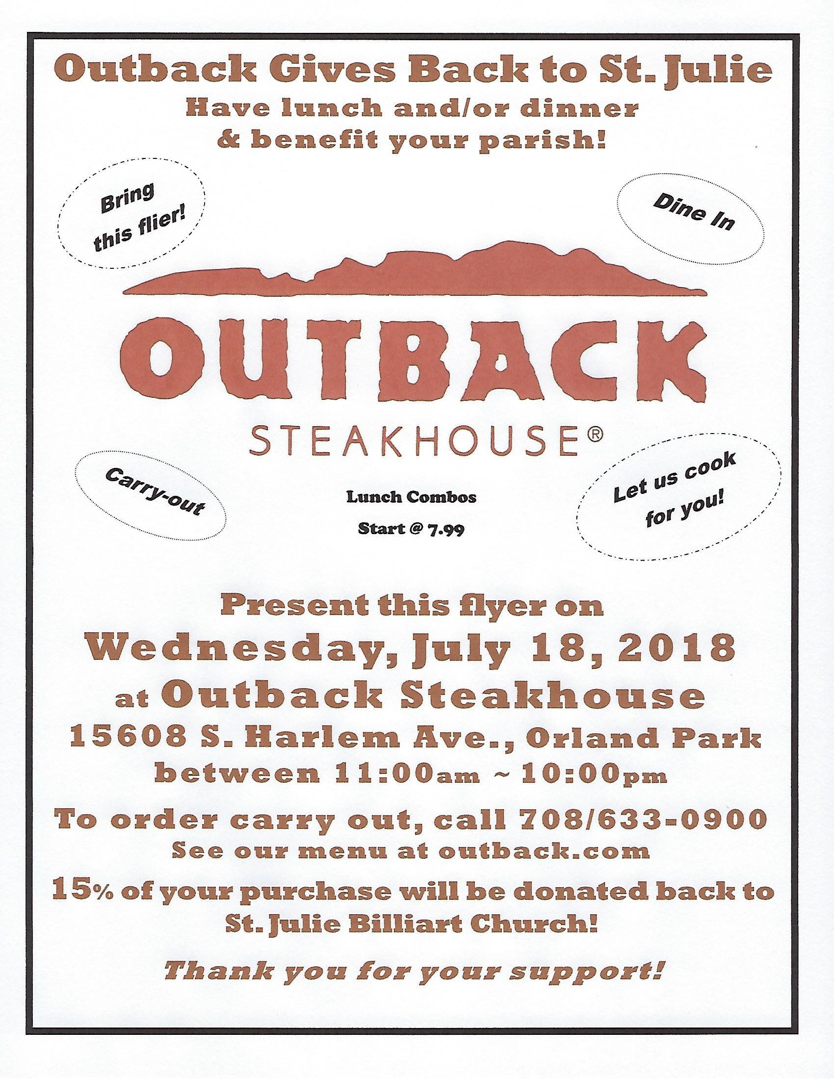 Outback Steakhouse Restaurant Fundraiser